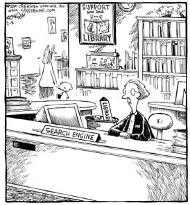 Speed Bump: Librarian or Search Engine? (c) Dave Coverly, 2001